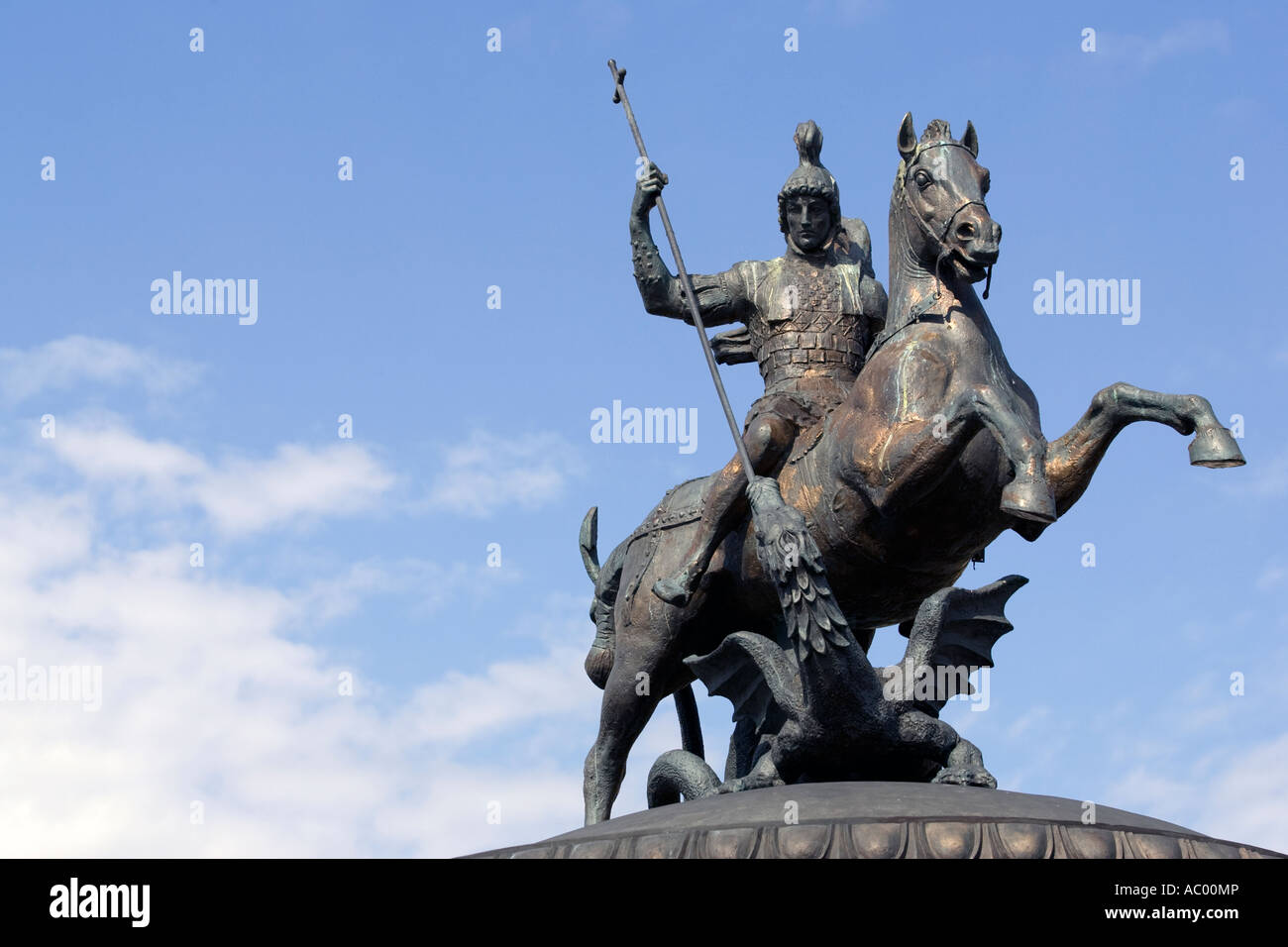 Bronze statue of St George and the Dragon in Manege Square in Moscow - Stock Image
