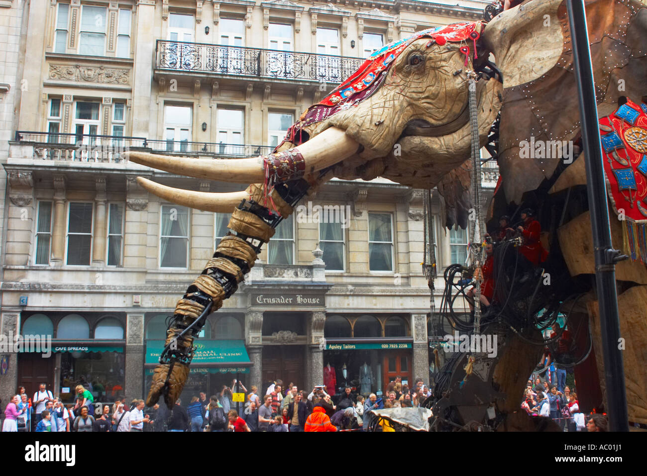 The Sultans Elephant trumpets loudly as it makes its way down Pall Mall - Stock Image