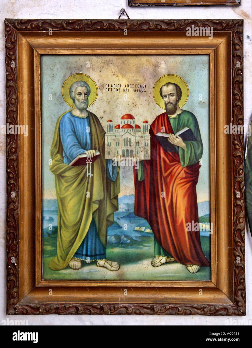Apostles Petros Peter and Paulos Paul holding miniature church illustration old church Crete Krete island Greece - Stock Image