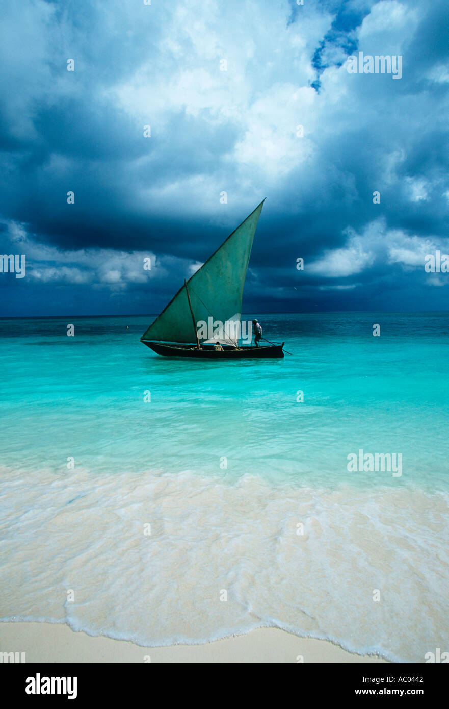 Dhow sailing boat Lateen rigged coastal sailing vessel of Arab origin Zanzibar Island Tanzania - Stock Image