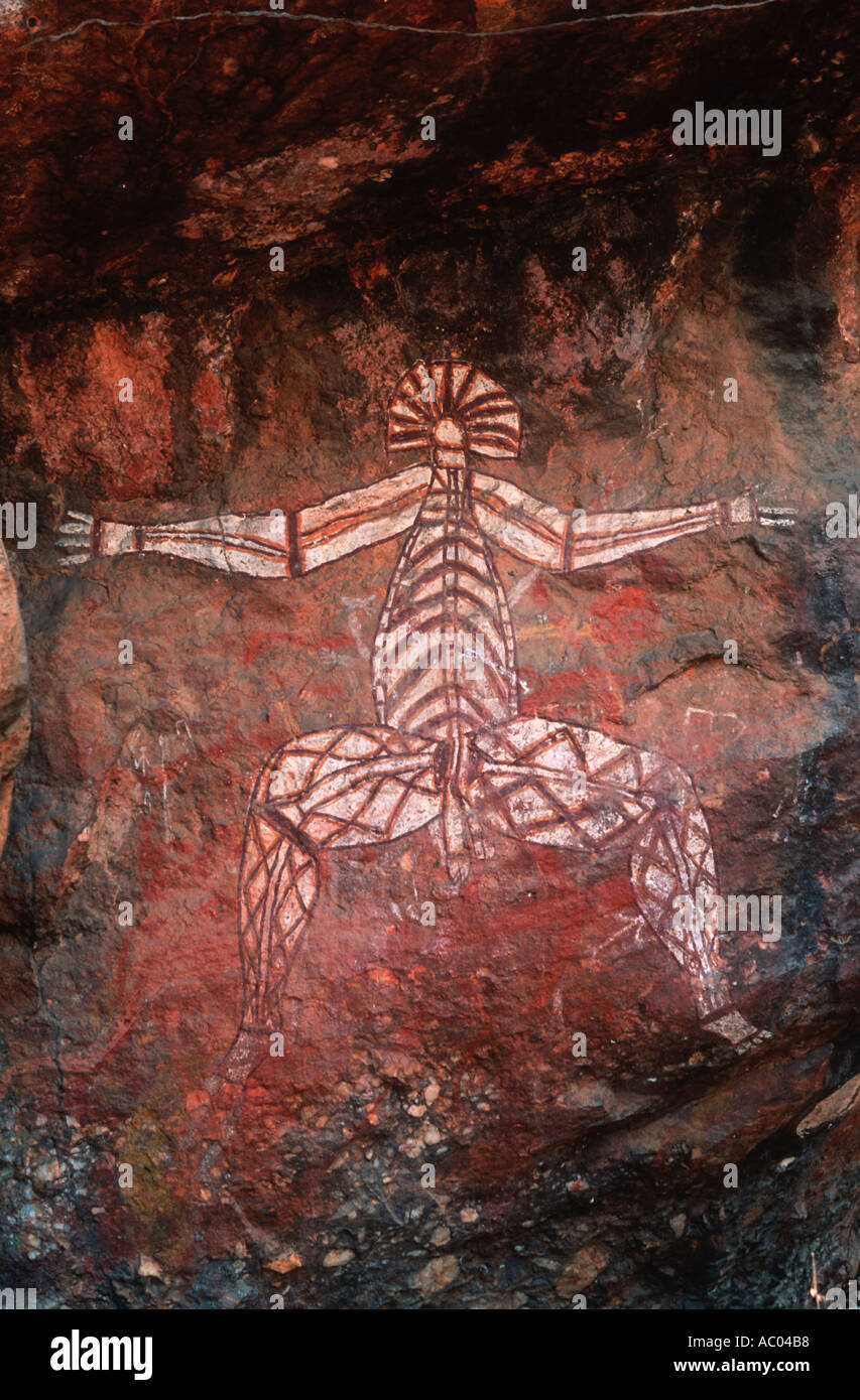 Scenery Nabulwinjbulwinj Aboriginal rock art painting in Kakadu National Park Australia - Stock Image