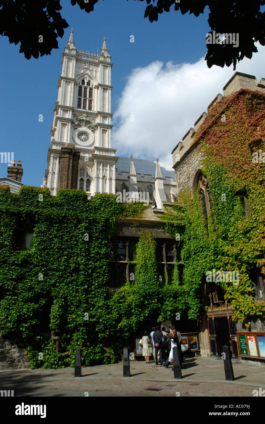 Westminster Abbey tower viewed above the colourful ivy walls of Dean's Yard cloister London - Stock Image