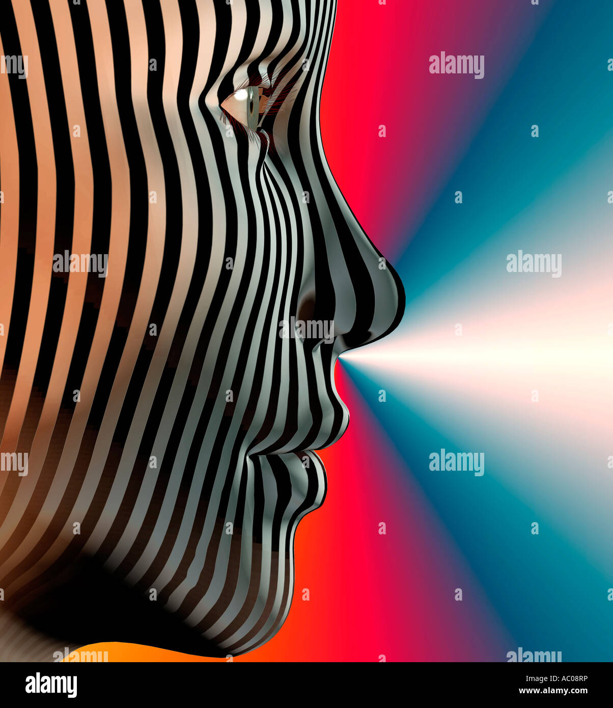 computer generated robot female head in 3D with stripes composited on face - Stock Image