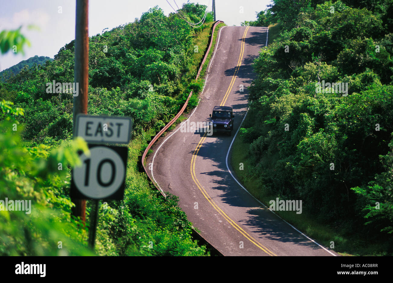 Steep Hill On Highway 10 On East End Of St John In The Us
