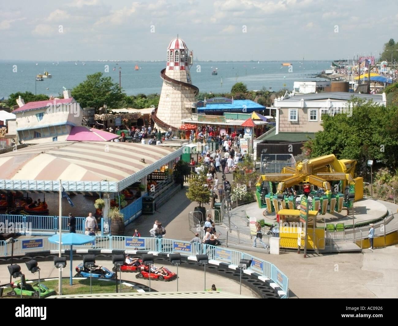 Southend on Sea seaside resort beside River Thames estuary Adventure Island pleasure park and funfair - Stock Image