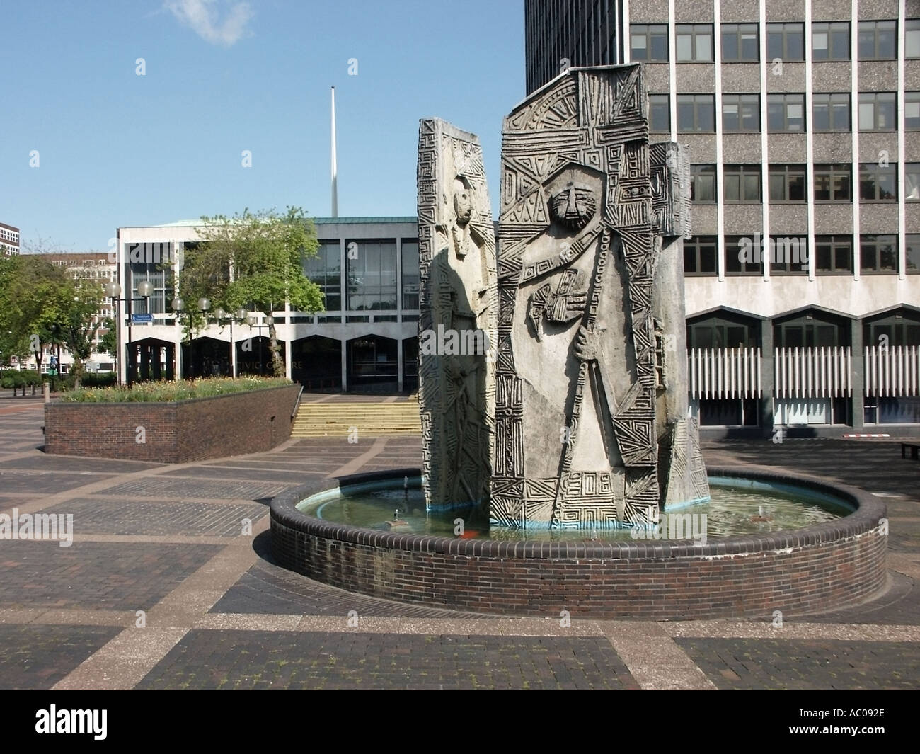 Southend on Sea Essex part of the civic centre area of this unitary authority and borough includes water feature and sculptu - Stock Image