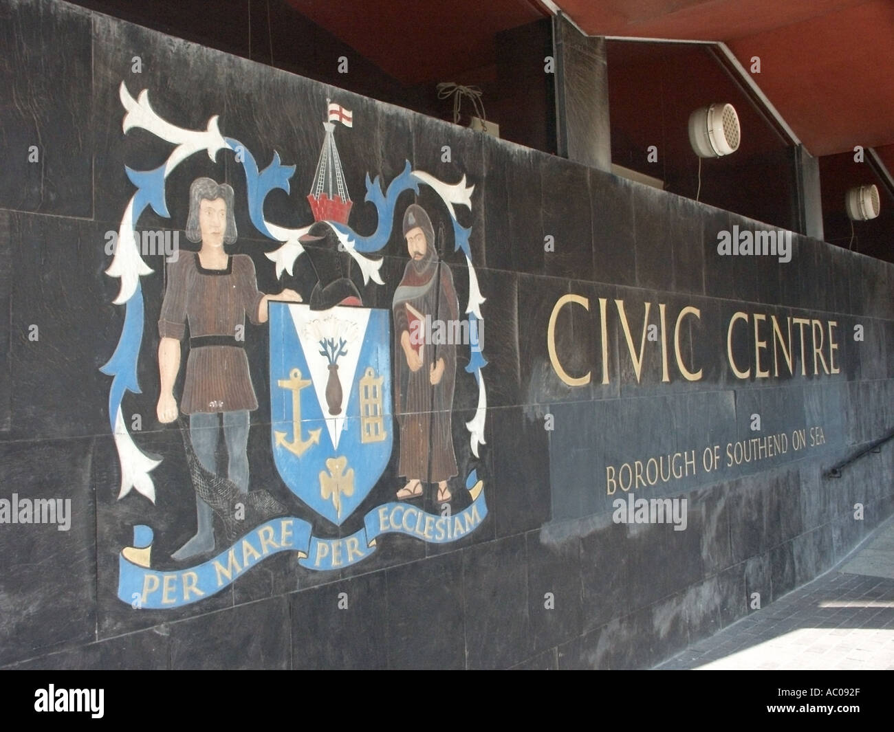 Southend on Sea Essex part of the civic centre area of this unitary authority and borough coat of arms and signs - Stock Image