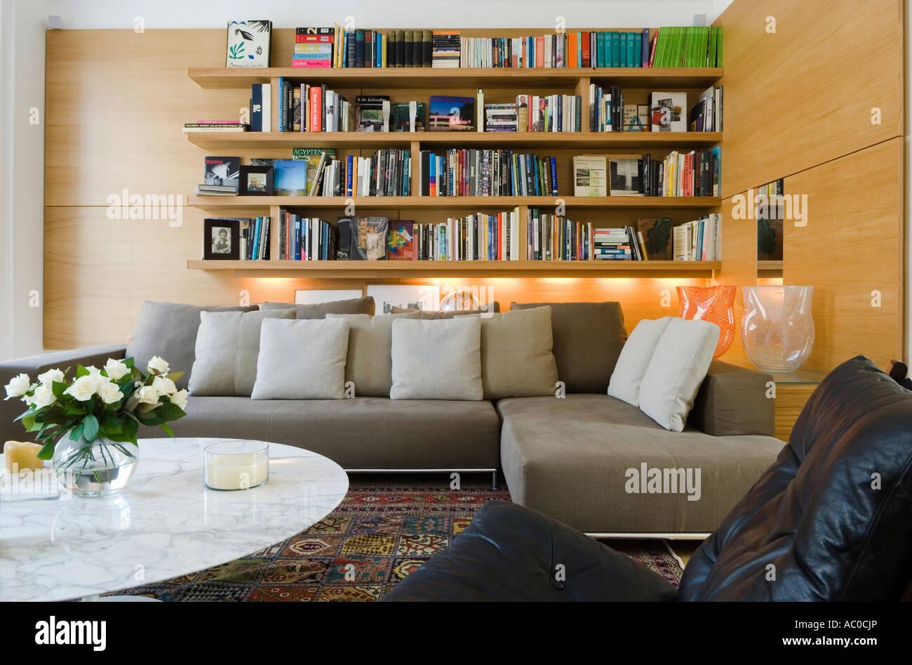 Modern Sitting Room With Bookshelf 2 Piece Sofa And Coffee Table
