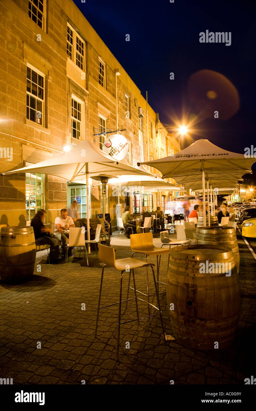 A string of cafes and restaurants make Salamanca Place in Hobart a lively night spot - Stock Image