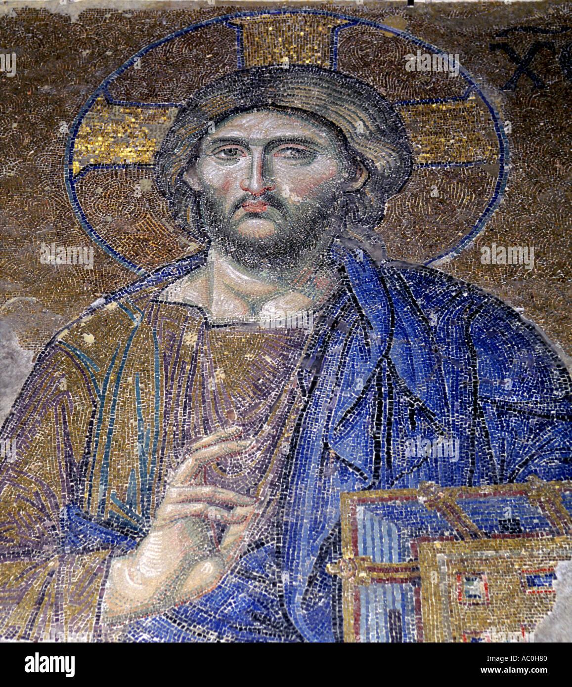 Christ The Ruler Pantokrator mosaic Hagia Sophia Istanbul Turkey - Stock Image