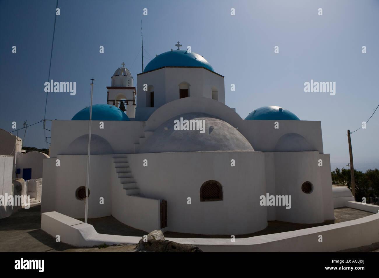 Rear view of Agios Konstantinos in Manolas,, Thirassia Santorini, Greece - Stock Image