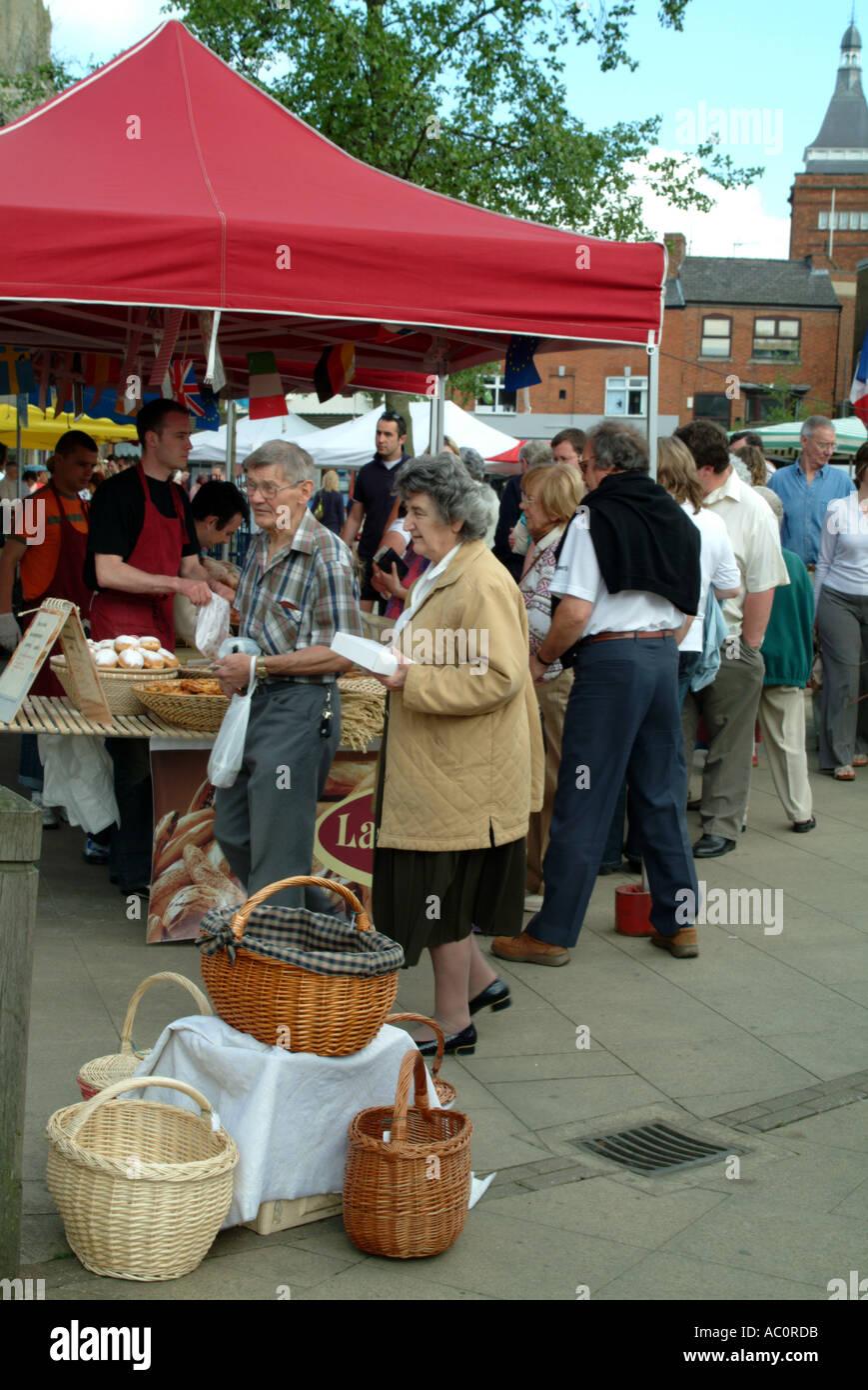 Market Harborough Leicestershire England UK market basketwork - Stock Image