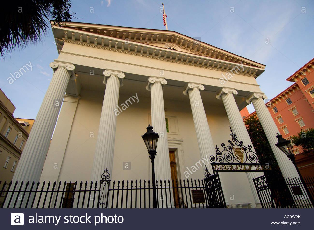 Hibernian Hall on Meeting Street in the Historic District of Charleston South Carolina Stock Photo