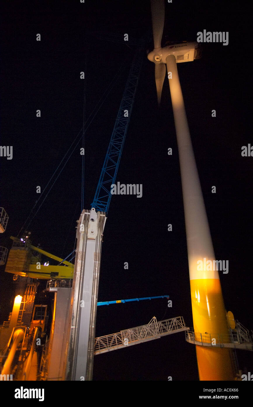 First Nacelle inplace on the Kentish flats windfarm Whitstable Kent - Stock Image
