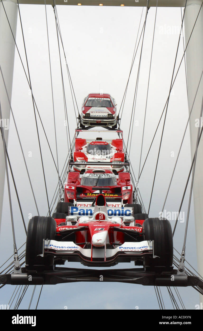 Sculpture celebrating seventieth anniversary of Toyota outside Goodwood House at Goodwood Festival of Speed 2007 - Stock Image