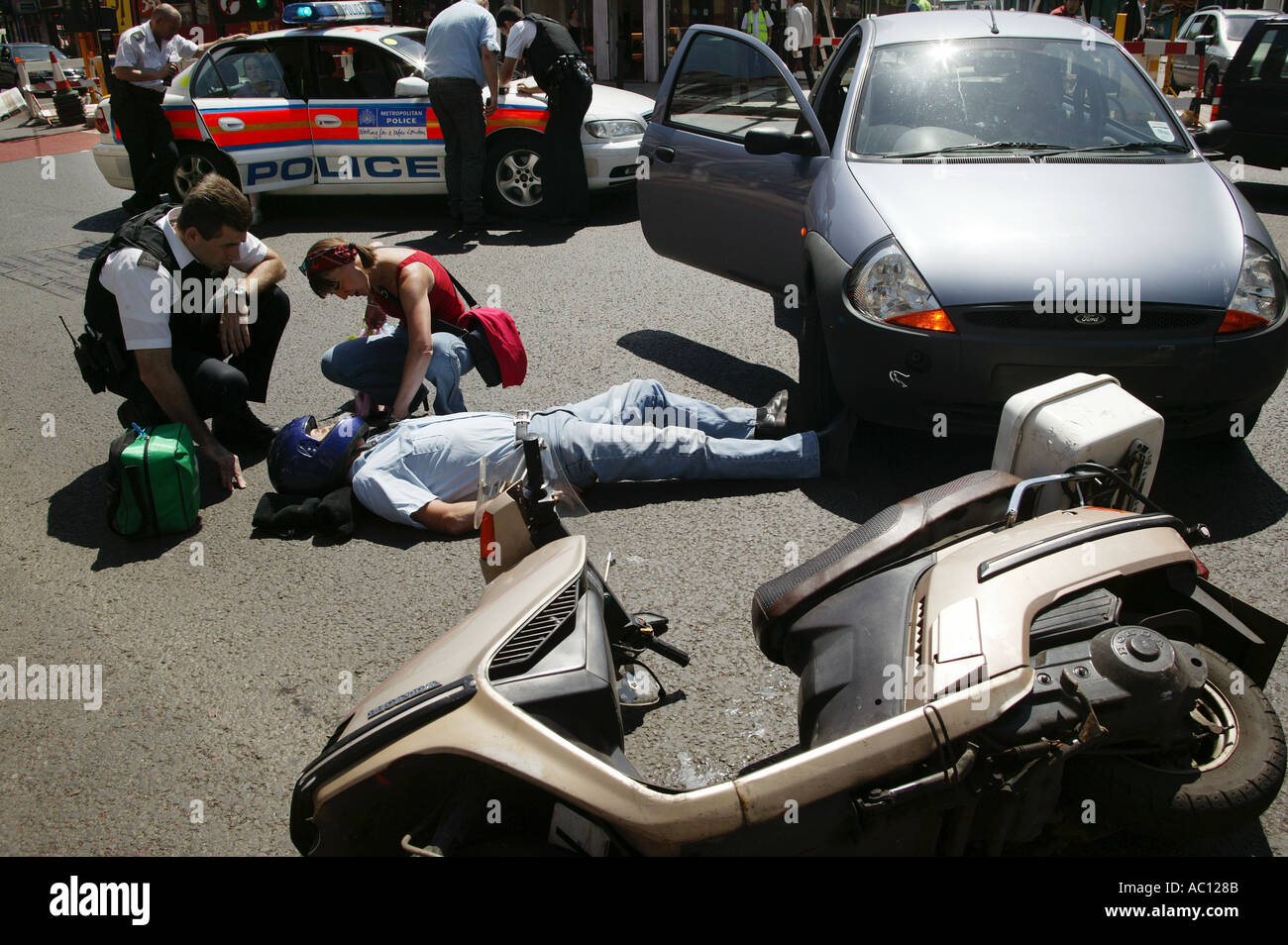 UK London motorcycle accident Injured motorcyclist Picture Stock ...