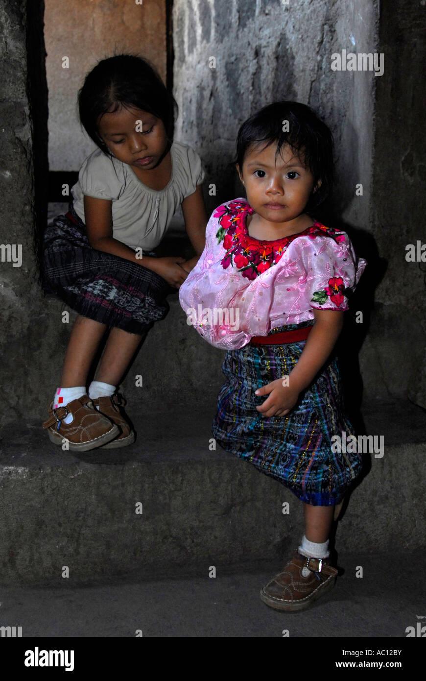 Indigenous girls, Santiago de Atitlan, Lake Atitlan, Guatemala, Central America - Stock Image