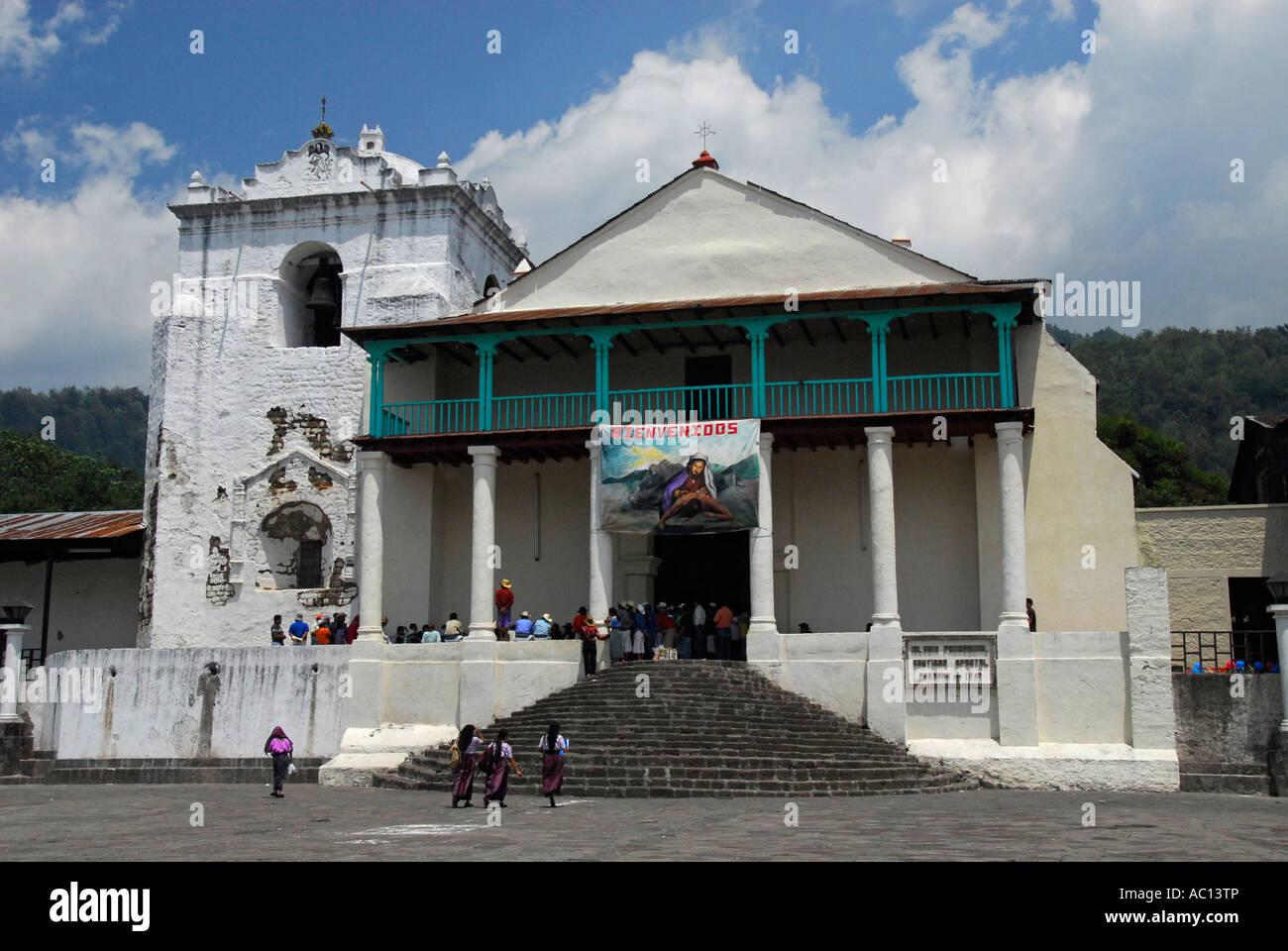 Cathedral of Santiago de Atitlan, Lake Atitlan, Guatemala, Central America - Stock Image