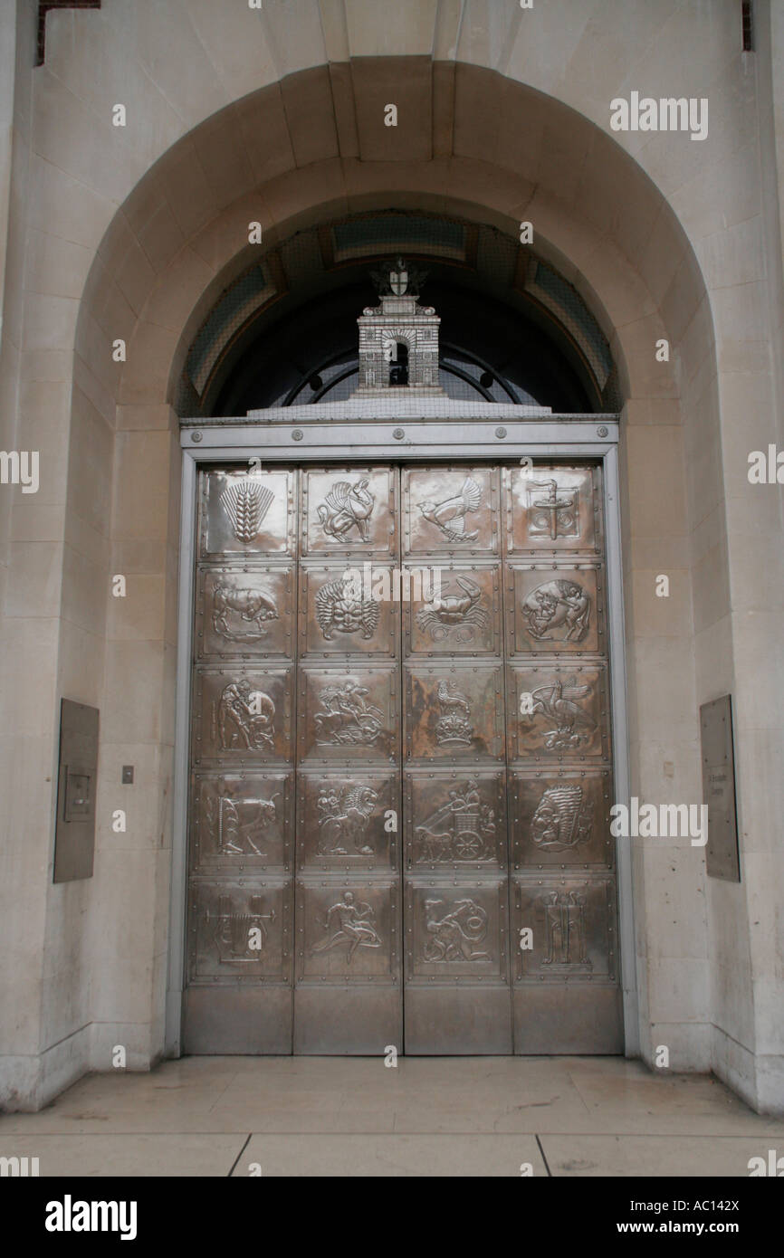 coventry city broadgate bank entrance ornate silver doors england uk gb - Stock Image