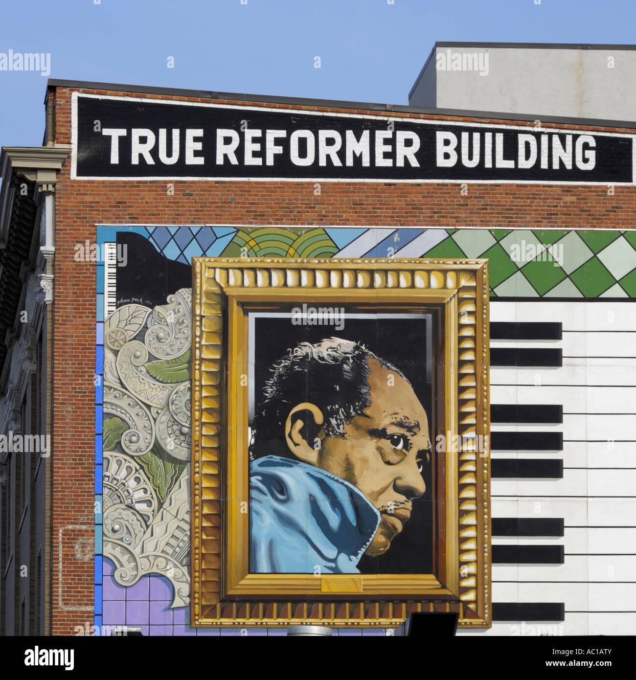Mural on True reformer building U Street Washington DC USA - Stock Image