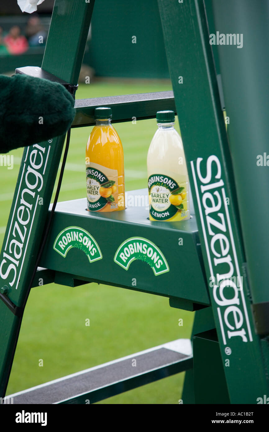 Bottles of Robinsons Barley water on an umpireu0027s chair / seat sponsored by Slazenger at Wimbledon tennis Ch&ionship. UK & Bottles of Robinsons Barley water on an umpireu0027s chair / seat Stock ...