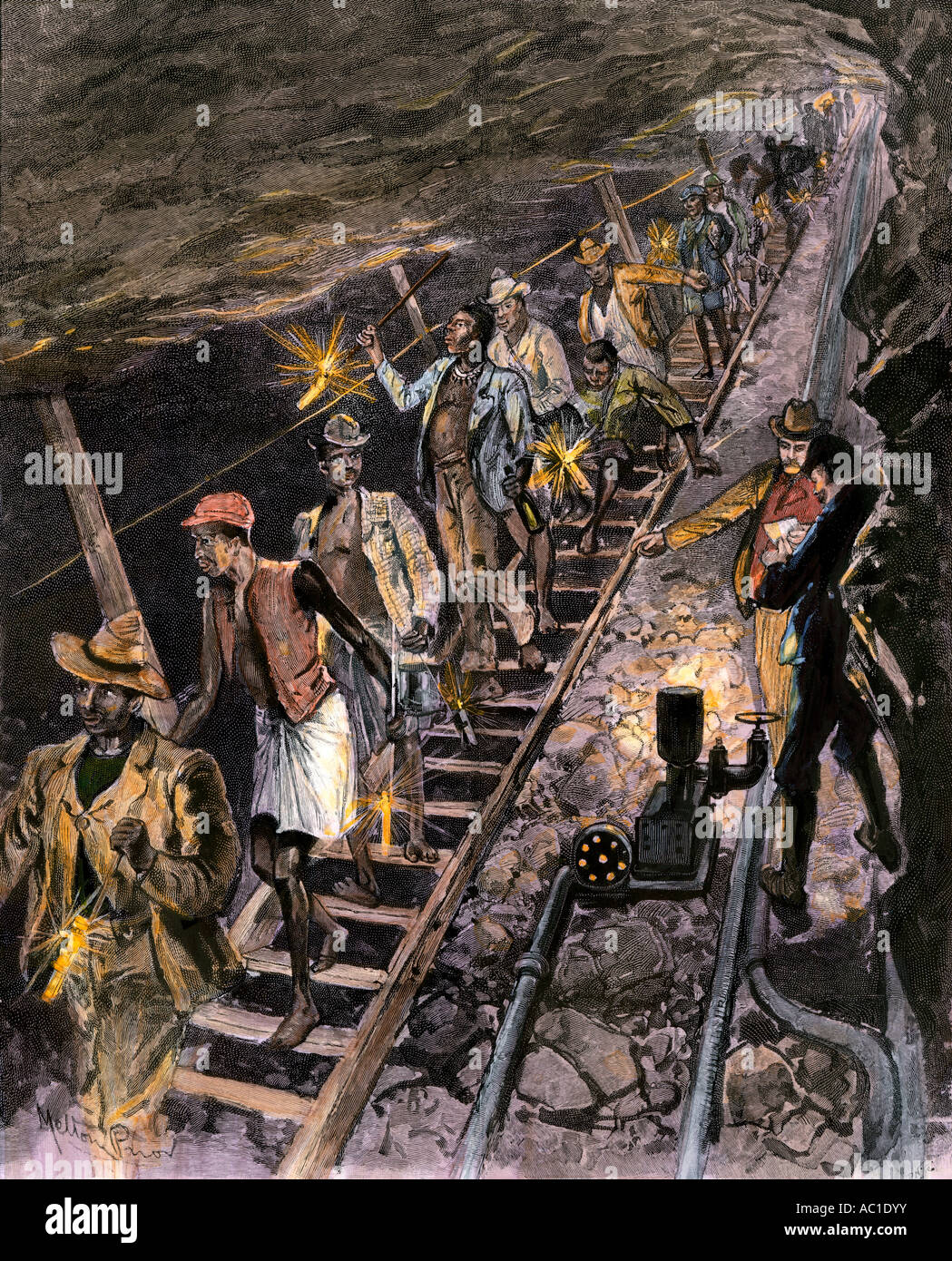 Native workers descending into a diamond mine near Johannesburg South Africa 1890s. Hand-colored halftone of an - Stock Image