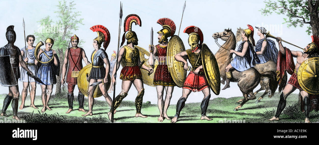 Soldiers of ancient Greece with their weapons. Hand-colored engraving - Stock Image