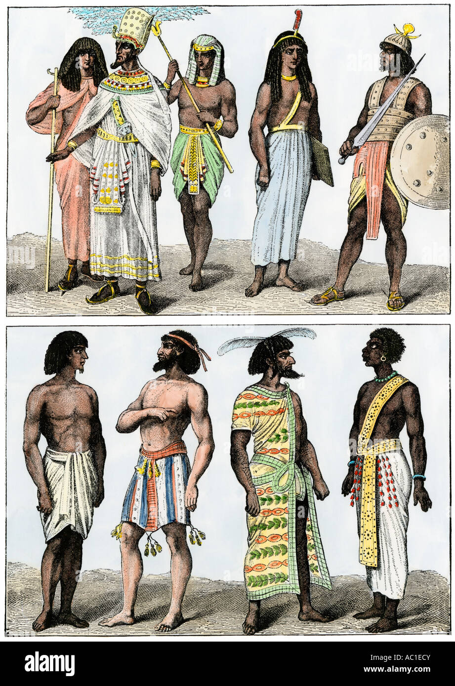 Ancient Egyptian pharaoh with a court officer and a fan bearer, a judge, a guard, and neighboring tribesmen. Hand - Stock Image