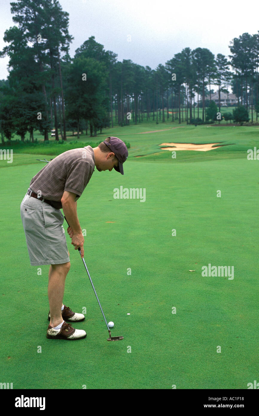 Alabama, Robert Trent Jones Golf Trail, Opelika, Grand National, 8th green, Lakes Stock Photo