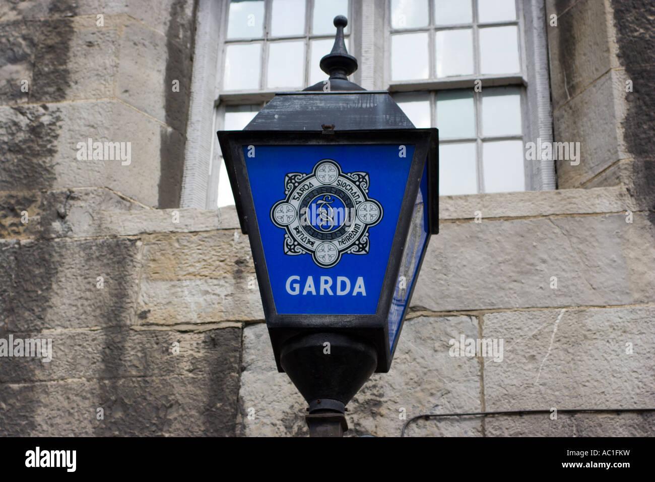 Garda Siochana lamp Dublin Castle Dublin Ireland Stock Photo