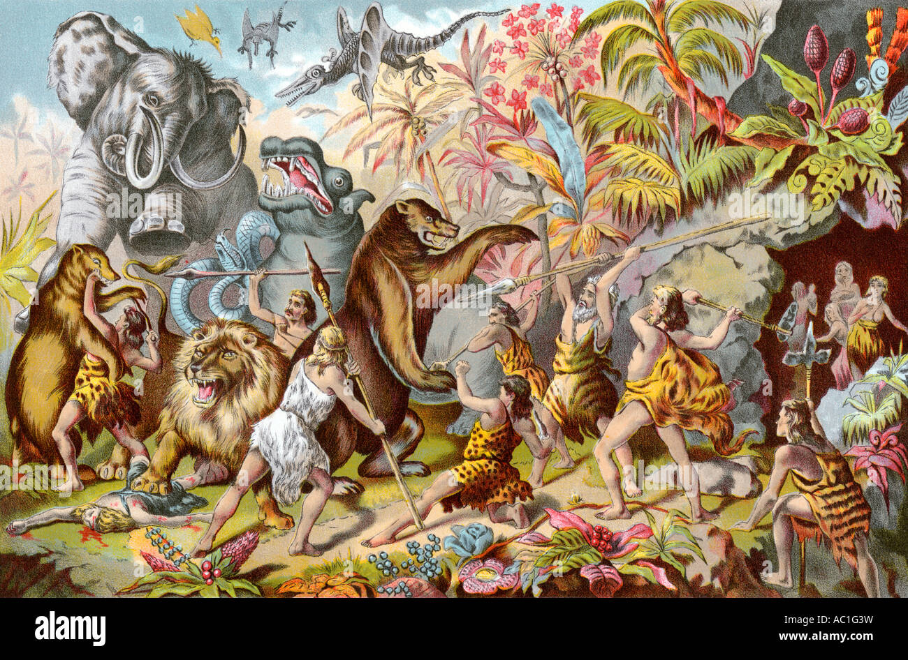 Cave dwellers contending with prehistoric monsters according to a 19th century illustrator. Color halftone of an - Stock Image