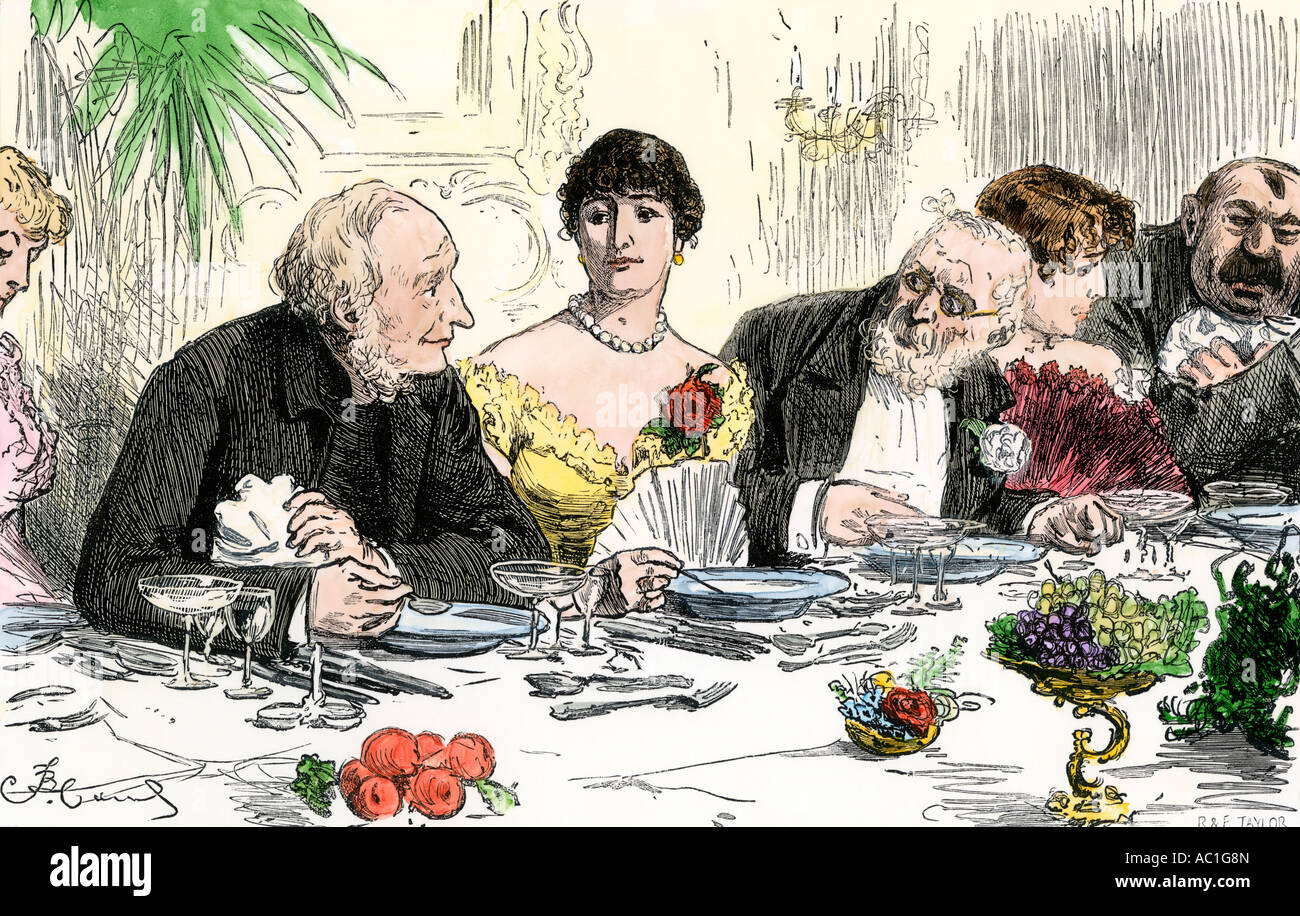 High society dinner guests conversing 1880s. Hand-colored woodcut - Stock Image