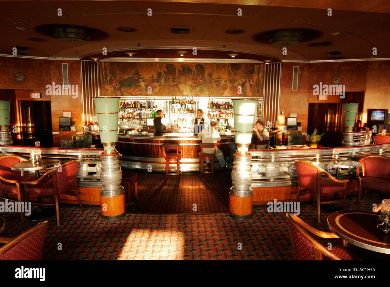 Royal Mail Steamer RMS Queen Mary Long Beach California First Class Lounge  Bar Art Deco Style Ship