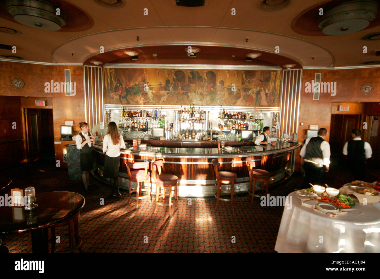 Royal Mail Steamer RMS Queen Mary Long Beach California First Class Lounge  Bar Art Deco Style