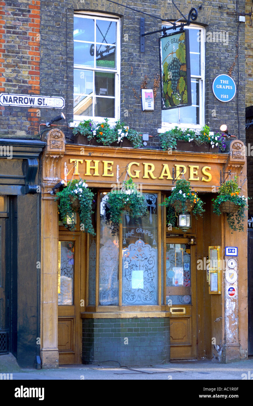 The entrance to The Grapes pub in east London. The pub dates back to 1583. Stock Photo