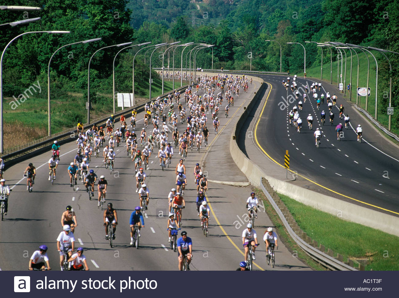 Bicycle ride for charity on the Don Valley Parkway Toronto Ontario Canada Closed to cars one day - Stock Image