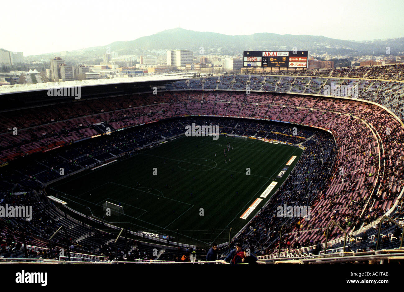 Nou Camp stadium, the largest football stadium in Europe and home of FC Barcelona, Spain. - Stock Image