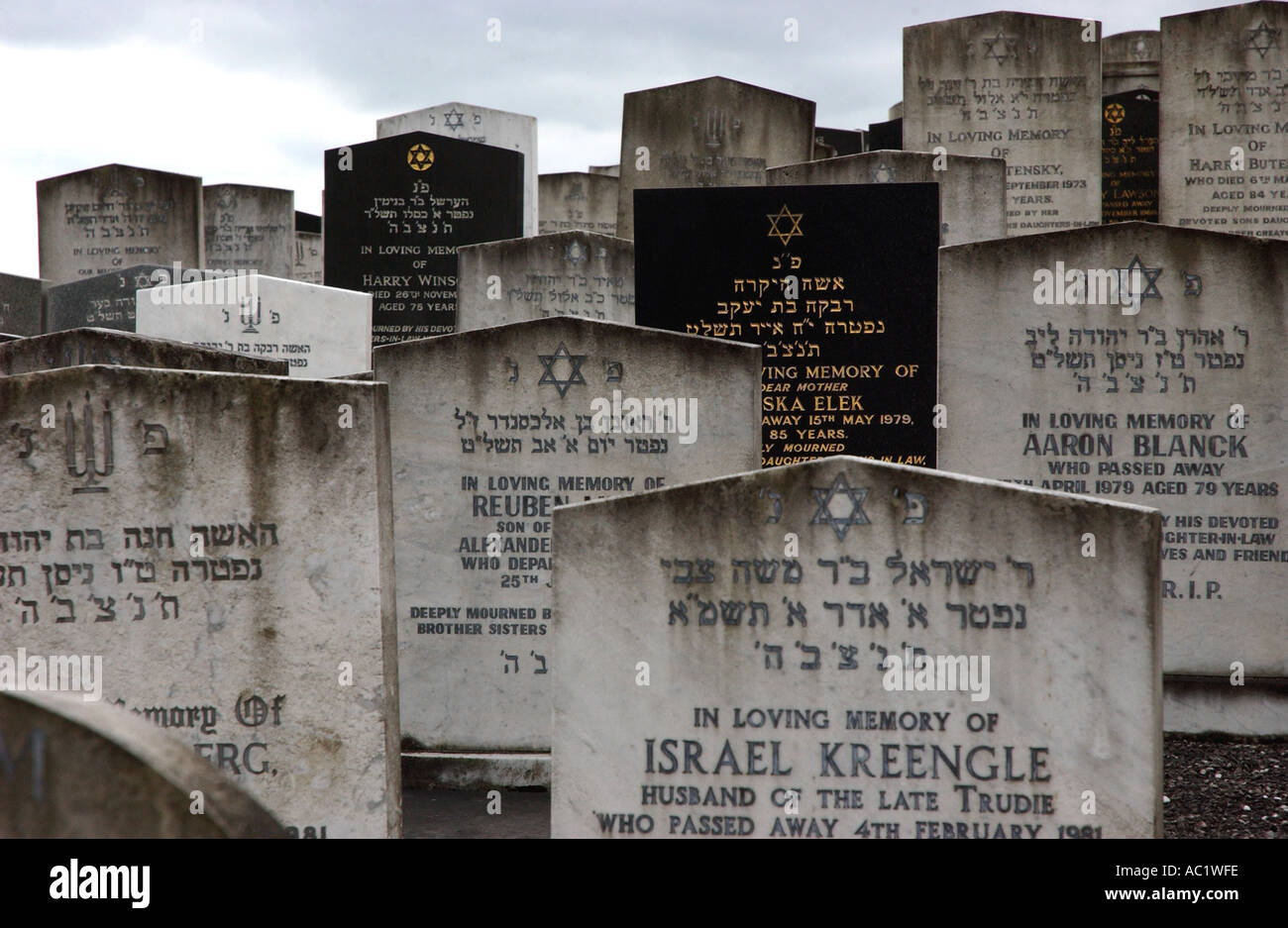 PHOTOGRAPH BY HOWARD BARLOW JEWISH GRAVESTONES in RAINSOUGH CEMETRY NORTH MANCHESTER - Stock Image