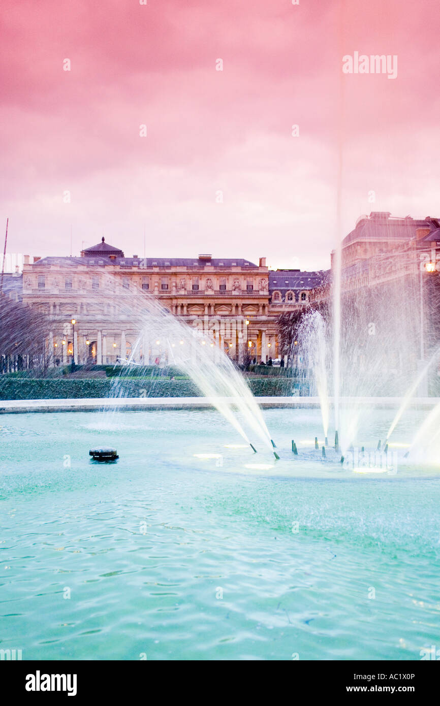 France, Paris, Jardin du Palais Royal, fountain - Stock Image