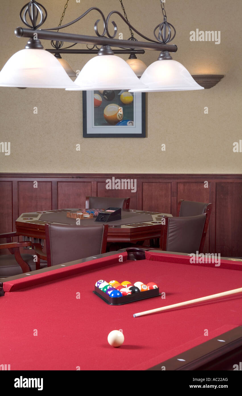 Billiard Pool Table With Red Felt With Poker Card Table, USA - Stock Image