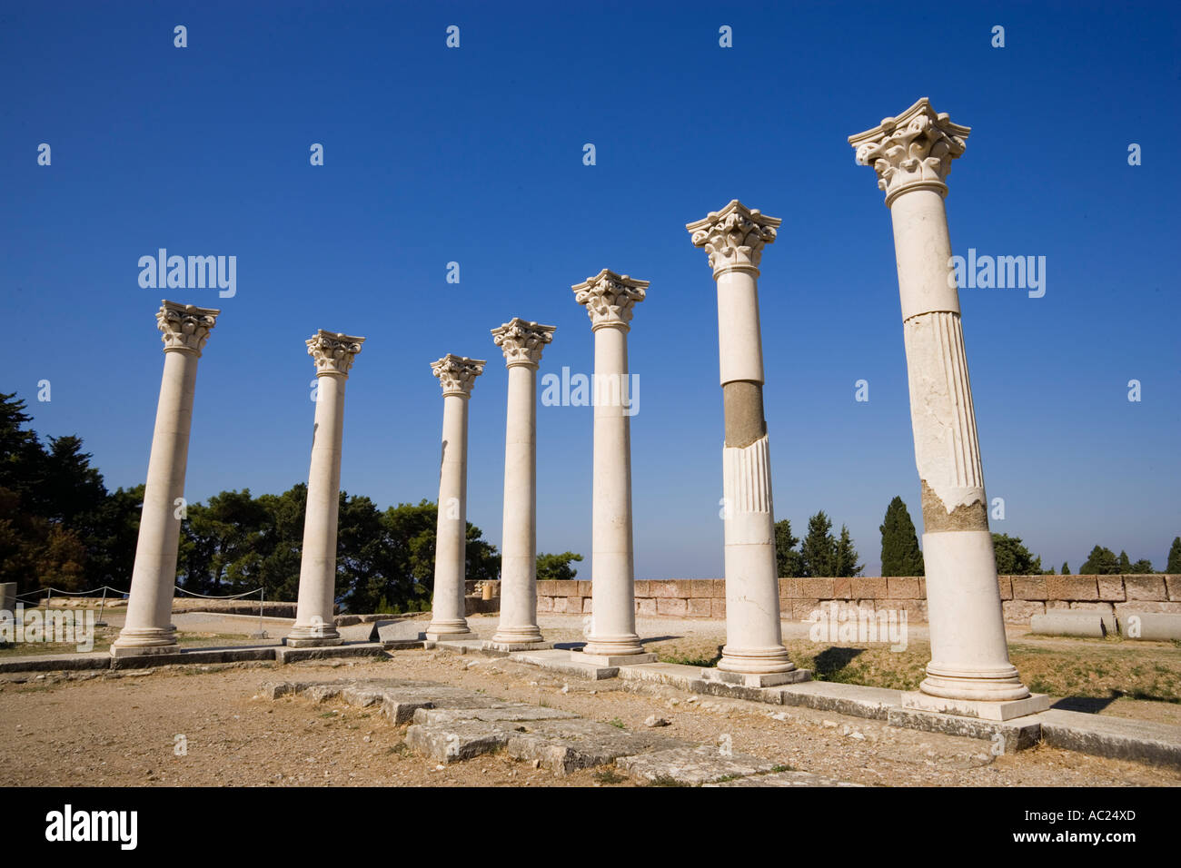 Group of ionic columns of the temple Asklipieion Kos Town Kos Greece Stock Photo