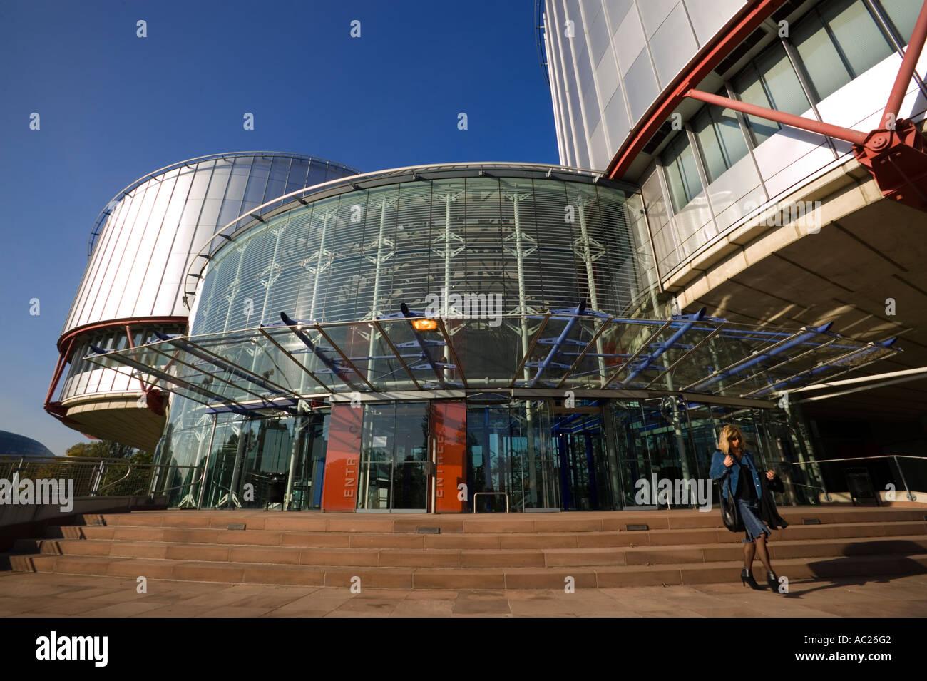 Palais des Droits de l Homme European Court for Human Rights Strasbourg Alsace France - Stock Image