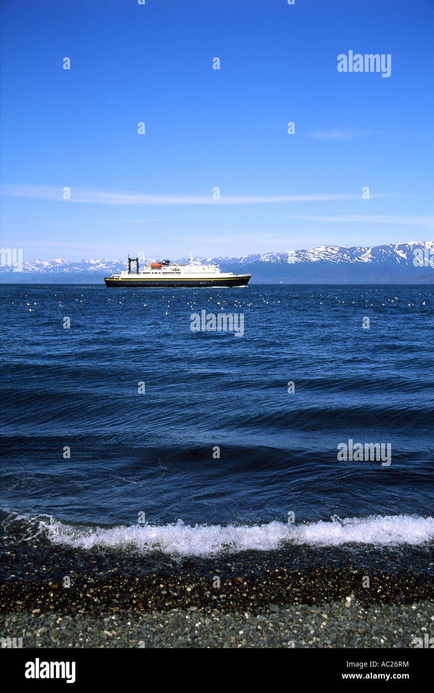 Ocean liner in body of water - Stock Image