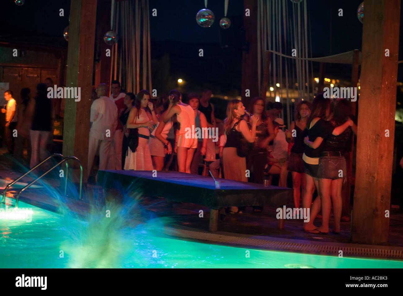 Full moon party of the Paradise Club Paradise Beach Mykonos Greece - Stock Image