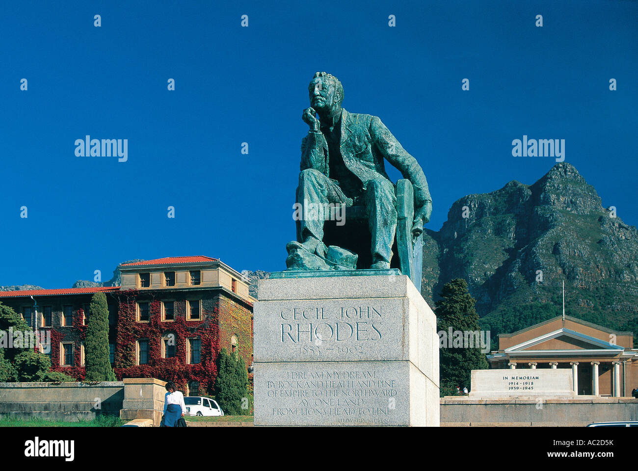 Statue of Cecil John Rhodes in the grounds of the University of Cape Town South Africa - Stock Image