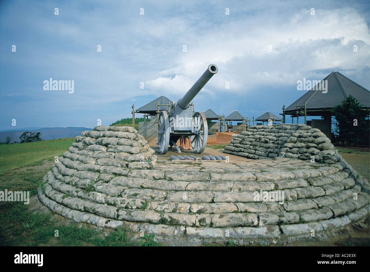 Monument of Long Tom Cannon near Sabie Lyndenburg Captured from British forces in Boer War Mpumalanga South Africa - Stock Image