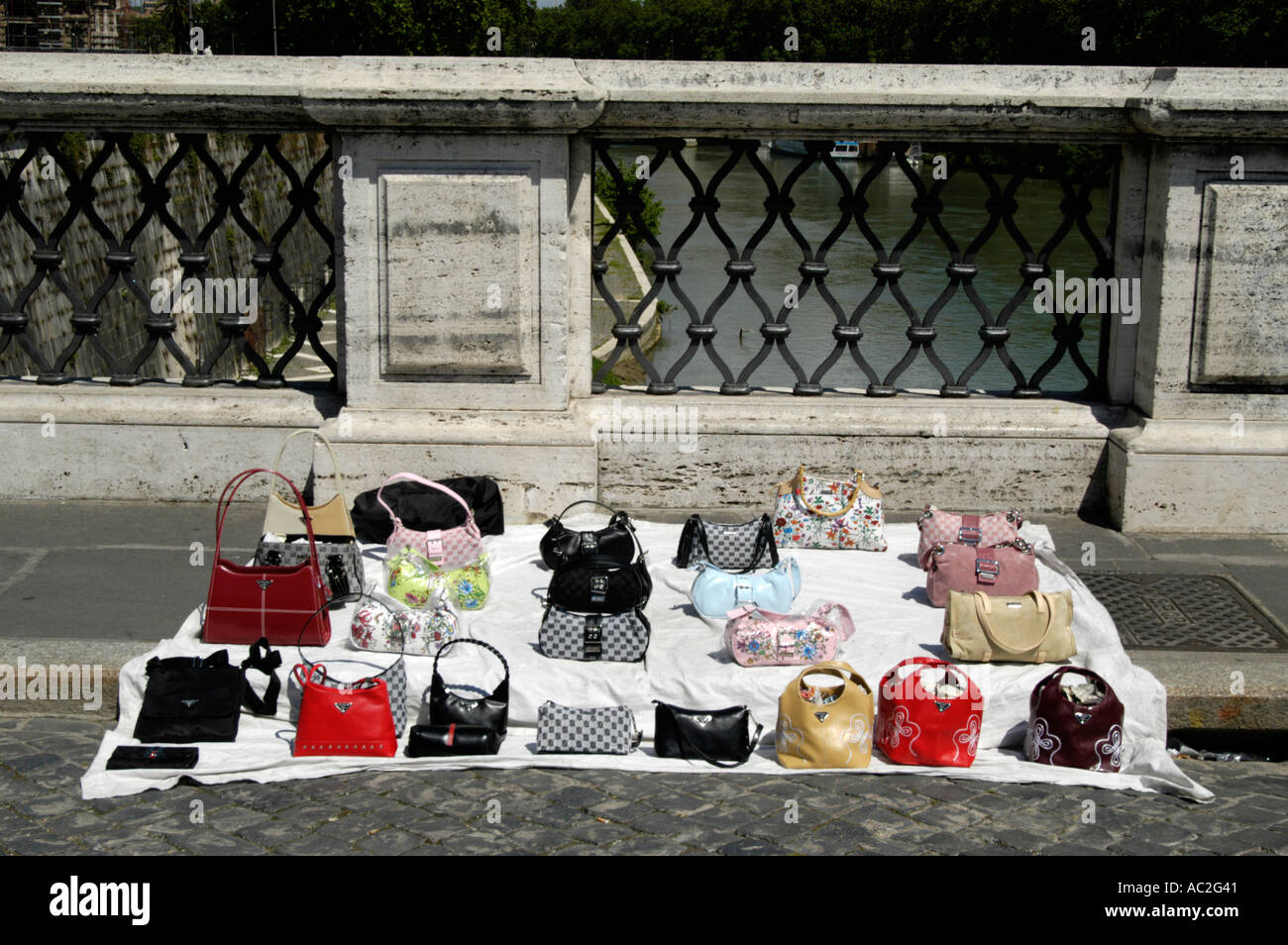 5a056d066f Fake designer handbags sold in the street, Rome, Italy - Stock Image