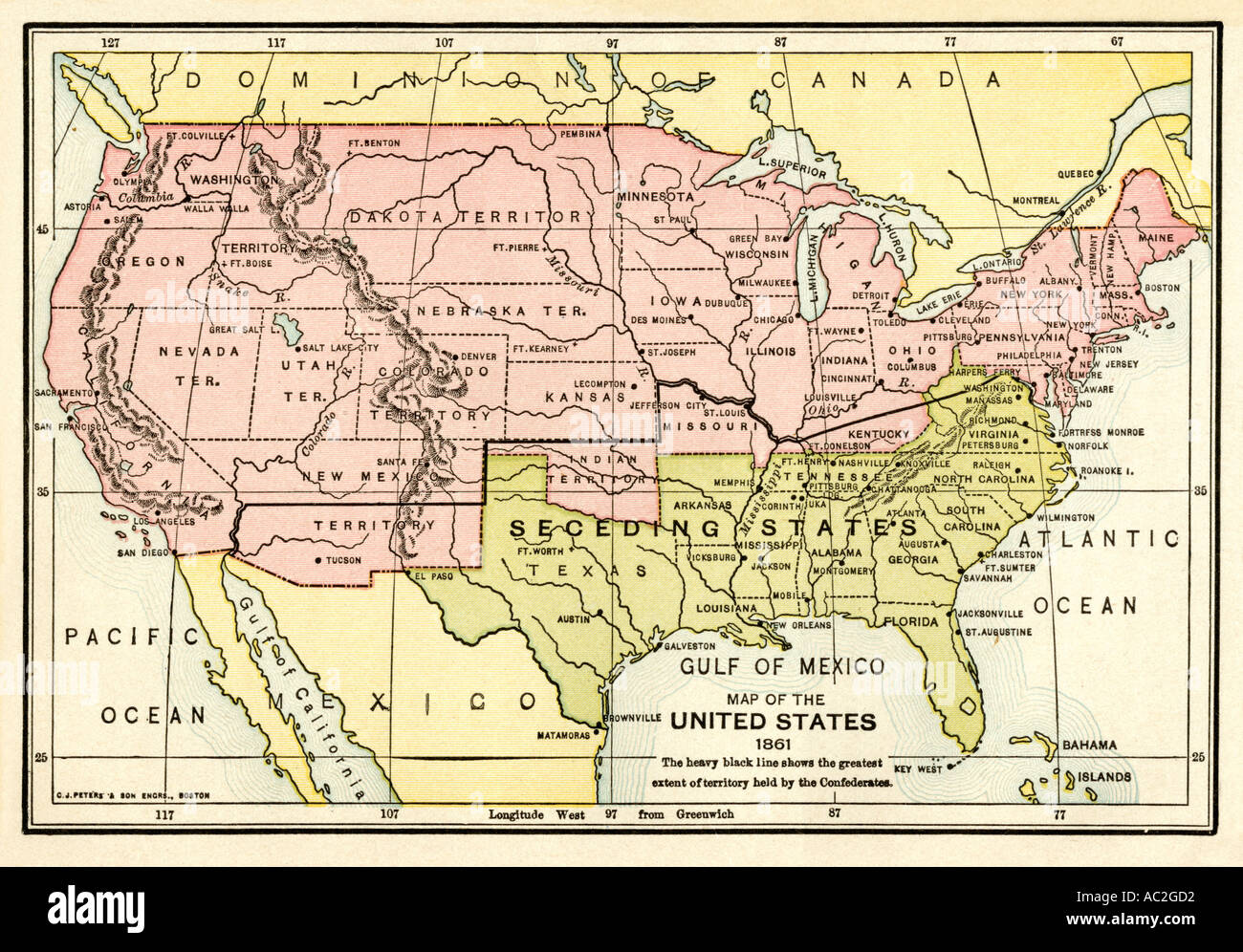 1861 United States Map.Map Of The United States In 1861 At The Start Of The Civil War