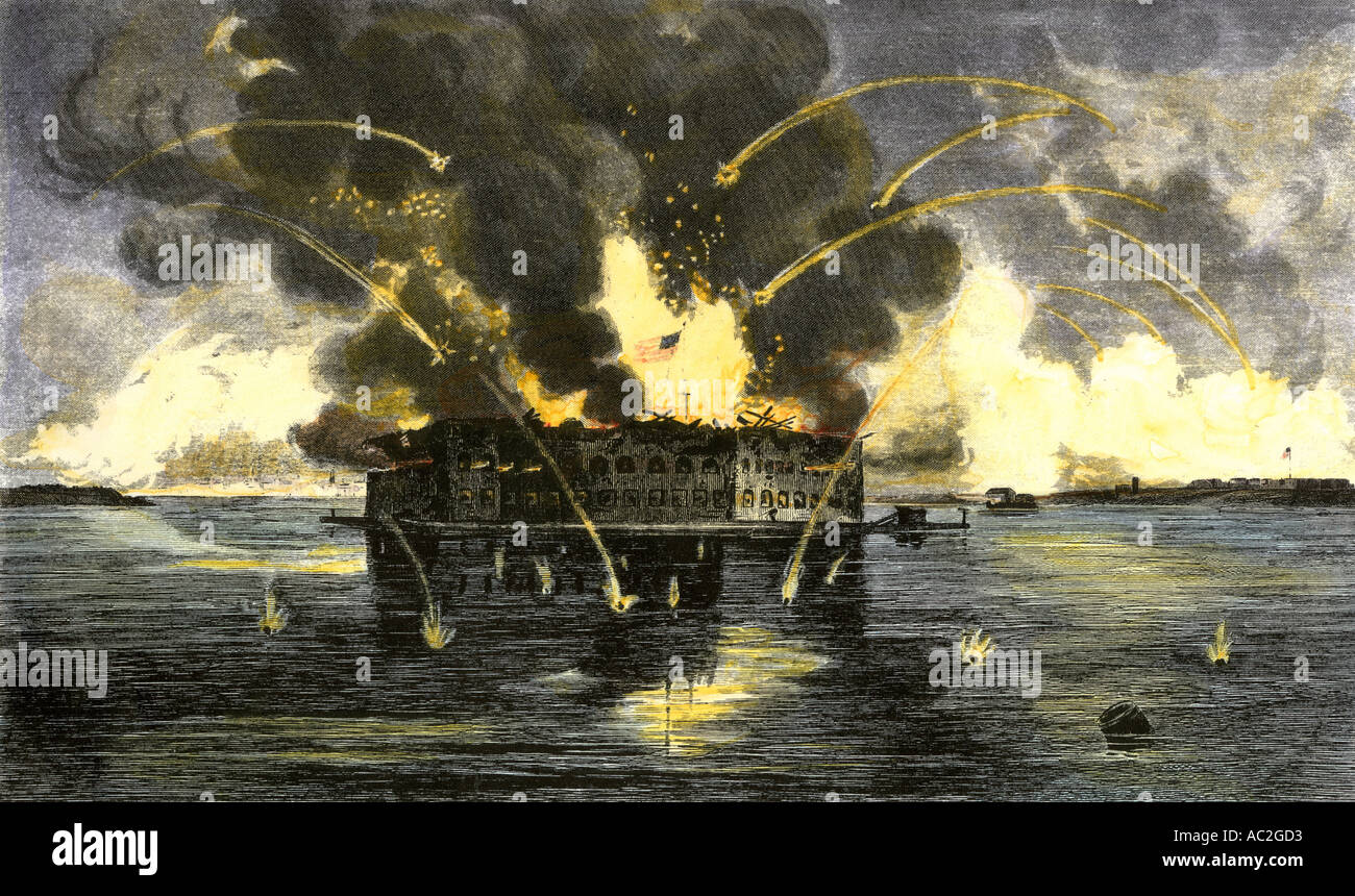 Confederate bombardment of Fort Sumter starting the American Civil War 1861. Hand-colored engraving - Stock Image