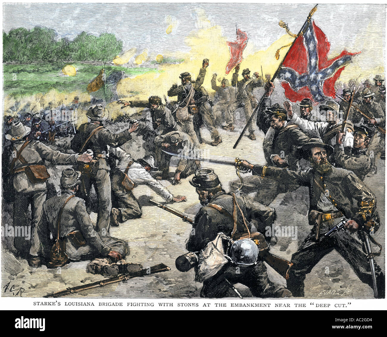 Confederate Louisiana brigade throwing stones at advancing Union Army at the second Battle of Bull Run 1862. Hand-colored woodcut - Stock Image
